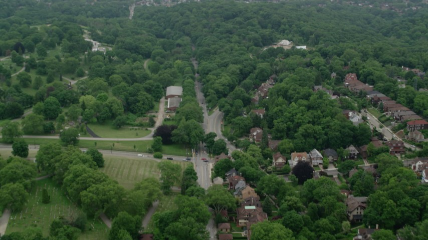 5K stock footage aerial video flying Frick Park and trees, Pittsburgh, Pennsylvania Aerial Stock Footage | AX107_199