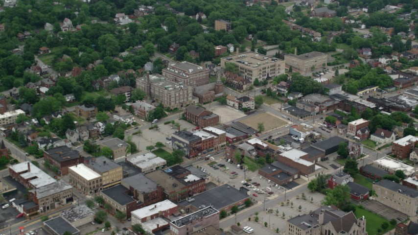5K stock footage aerial video of Wilkinsburg High School and Family Health Center, Pittsburgh, Pennsylvania Aerial Stock Footage | AX107_201
