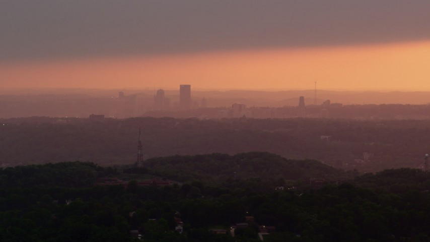 4K stock footage aerial video of Downtown Pittsburgh skyline, Pennsylvania, sunset Aerial Stock Footage   AX108_007