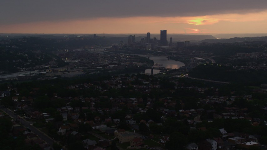 4K stock footage aerial video of Downtown Pittsburgh skyline from a distance, Pennsylvania Aerial Stock Footage | AX108_049