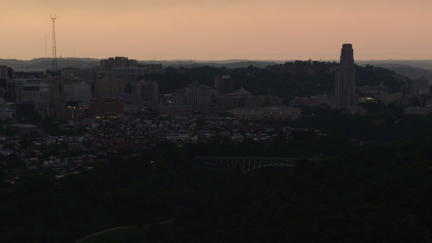 4K stock footage aerial video of the University of Pittsburgh campus, Pennsylvania, sunset Aerial Stock Footage | AX108_051