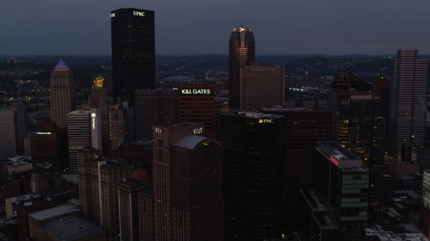 4K stock footage aerial video of Downtown Pittsburgh skyscrapers, Pennsylvania, twilight Aerial Stock Footage | AX108_071