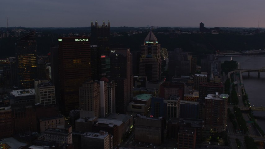 4K stock footage aerial video of Downtown Pittsburgh skyscrapers, Pennsylvania, twilight Aerial Stock Footage | AX108_073