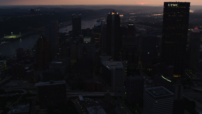 4K stock footage aerial video approaching BNY Mellon Center, Downtown Pittsburgh, twilight Aerial Stock Footage | AX108_082