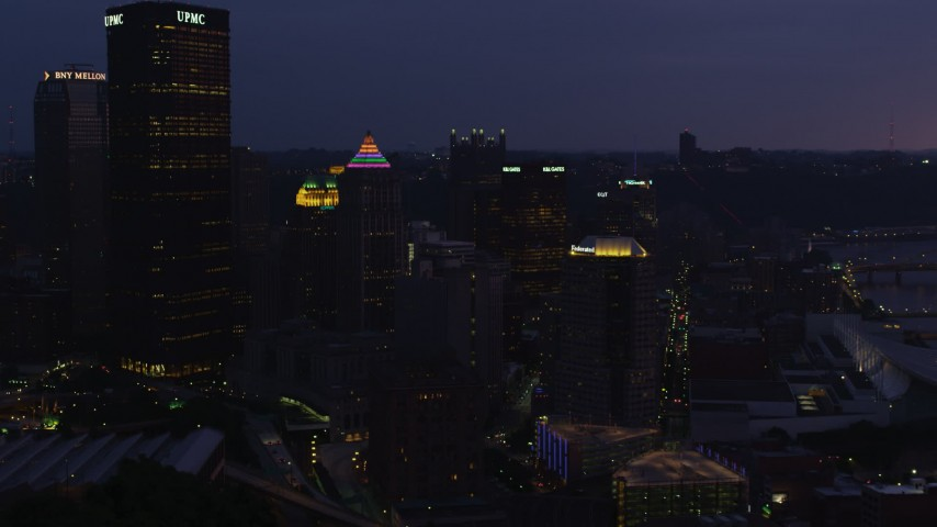 4K stock footage aerial video approaching Gulf Tower, Downtown Pittsburgh, Pennsylvania, twilight Aerial Stock Footage | AX108_139