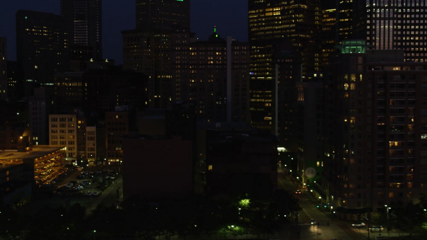 4K stock footage aerial video of Downtown Pittsburgh sksycrapers, Pennsylvania, night Aerial Stock Footage | AX108_172