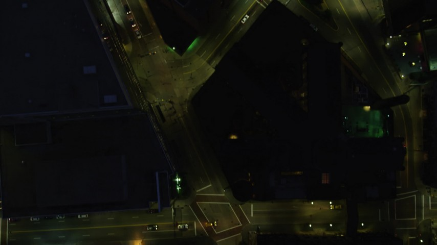 4K stock footage aerial video of a bird's eye of city streets, Downtown Pittsburgh, Pennsylvania, night Aerial Stock Footage | AX108_190