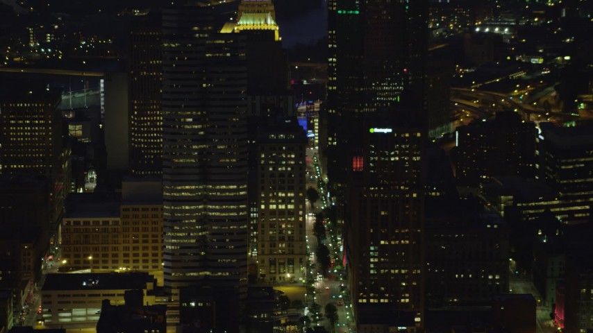 4K stock footage aerial video of a medium shot of skyscrapers, Downtown Pittsburgh, Pennsylvania, night Aerial Stock Footage | AX108_208