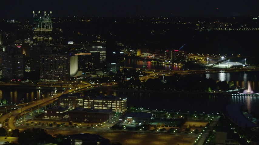 4K stock footage aerial video of Point State Park and Heinz Field, Pittsburgh, night Aerial Stock Footage | AX108_215