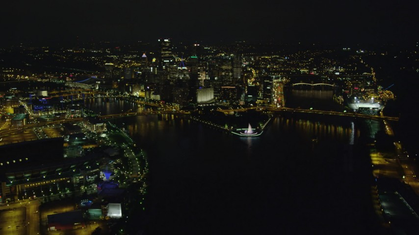 4K stock footage aerial video of Point State Park Fountain and Downtown Pittsburgh, Pennsylvania, night Aerial Stock Footage | AX108_234