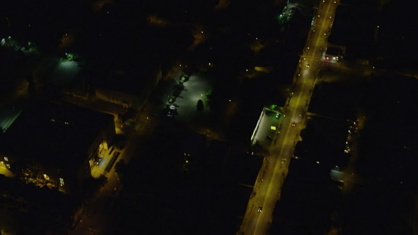 4K stock footage aerial video of a bird's eye of city streets, Pittsburgh Pennsylvania, night Aerial Stock Footage   AX108_255