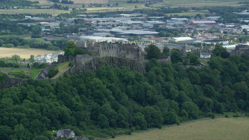 6K stock footage aerial video of Stirling Castle on a hill in Scotland Aerial Stock Footage | AX109_021