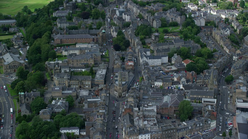 6K stock footage aerial video fly over apartment buildings in Stirling, Scotland Aerial Stock Footage | AX109_031