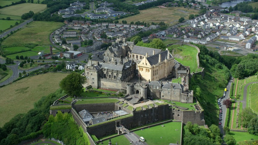 6K stock footage aerial video approach Stirling Castle in Scotland Aerial Stock Footage | AX109_035