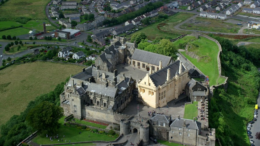 6K stock footage aerial video of flying over Stirling Castle, Scotland Aerial Stock Footage | AX109_036