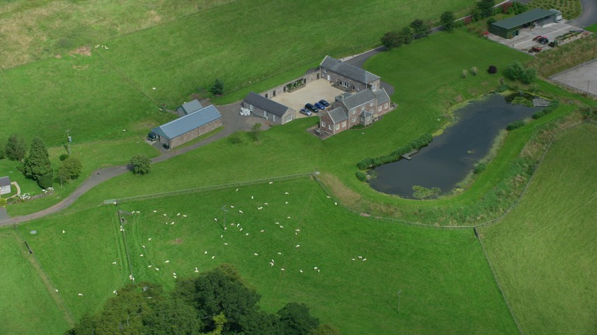 6K stock footage aerial video flyby sheep farm and pond, Stirling, Scotland Aerial Stock Footage | AX109_091