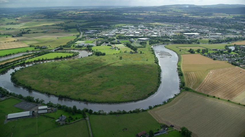 6K stock footage aerial video of River Forth and farmland, Stirling, Scotland Aerial Stock Footage | AX109_101