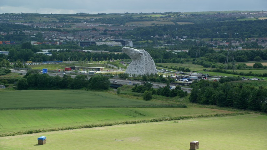 6K stock footage aerial video approach The Kelpies sculptures, Falkirk, Scotland Aerial Stock Footage | AX109_121