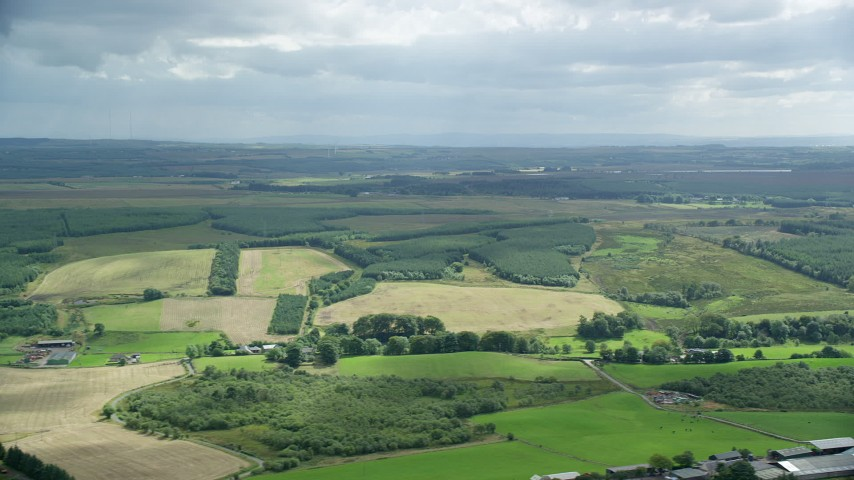 6K stock footage aerial video of Scottish farm fields and countryside, Bonnybridge, Scotland Aerial Stock Footage | AX109_168