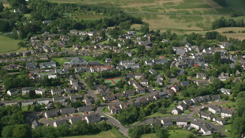 6K stock footage aerial video of an orbit of the Scottish village of Kippen, Scotland Aerial Stock Footage | AX110_032