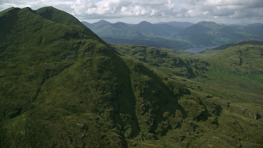 6K stock footage aerial video flyby Ben Lomond in Scottish Highlands, Scotland Aerial Stock Footage | AX110_049