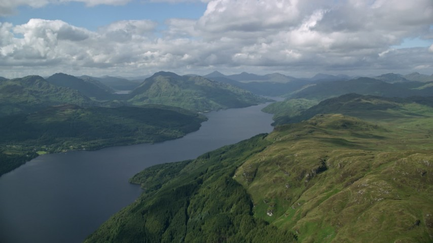 6K stock footage aerial video of Loch Lomond in the Scottish Highlands, Scotland Aerial Stock Footage AX110_058 | Axiom Images