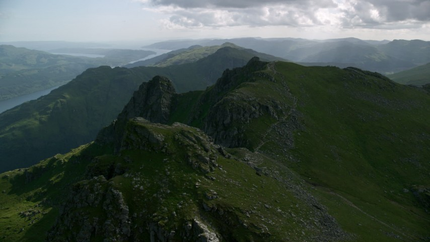 6K stock footage aerial video of The Cobbler a green peak, Scottish Highlands, Scotland Aerial Stock Footage | AX110_077