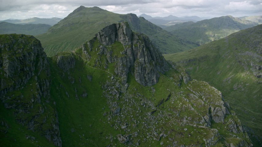6K aerial video of The Cobbler mountain in the Scottish Highlands, Scotland Aerial Stock Footage | AX110_082