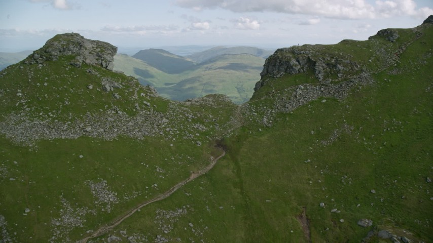 6K stock footage aerial video fly over The Cobbler, reveal Loch Long, Scottish Highlands, Scotland Aerial Stock Footage | AX110_086