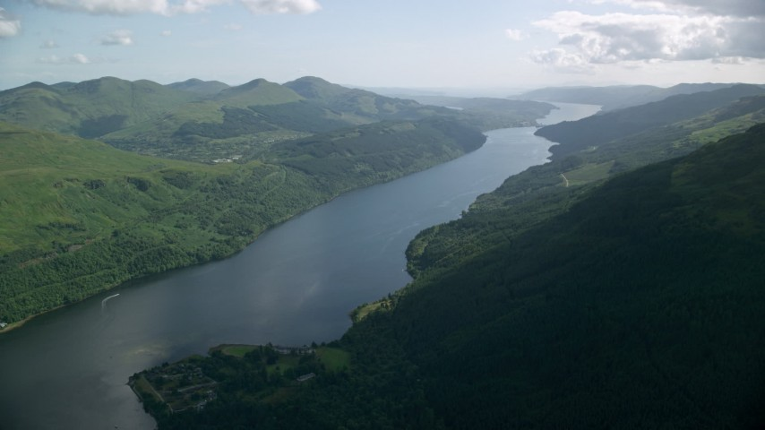 6K stock footage aerial video of a view of the calm waters of Loch Long, Scottish Highlands, Scotland Aerial Stock Footage | AX110_089