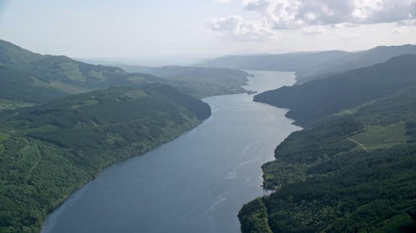 6K stock footage aerial video of the calm waters of Loch Long, Scottish Highlands, Scotland Aerial Stock Footage | AX110_090