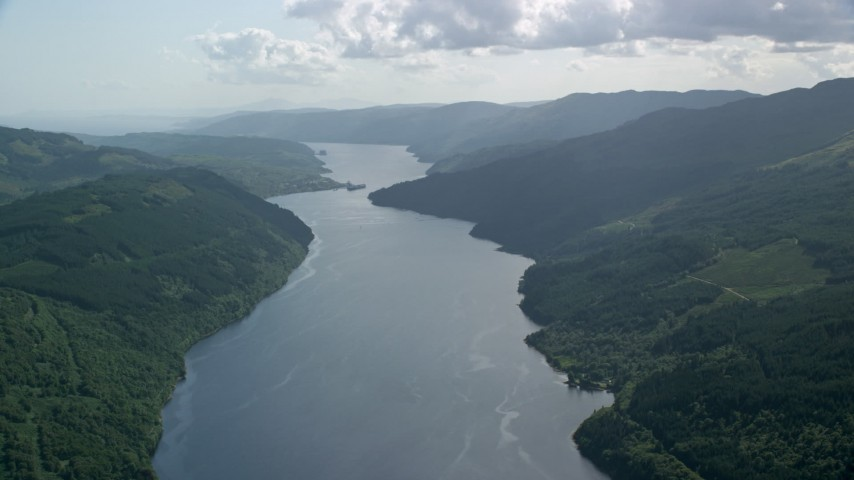 6K stock footage aerial video of Loch Long in the Scottish Highlands, Scotland Aerial Stock Footage | AX110_091