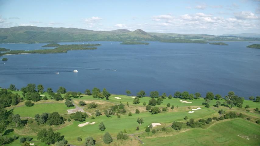 6K stock footage aerial video of orbiting Loch Lomond Golf Course, Luss, Scottish Highlands, Scotland Aerial Stock Footage | AX110_118