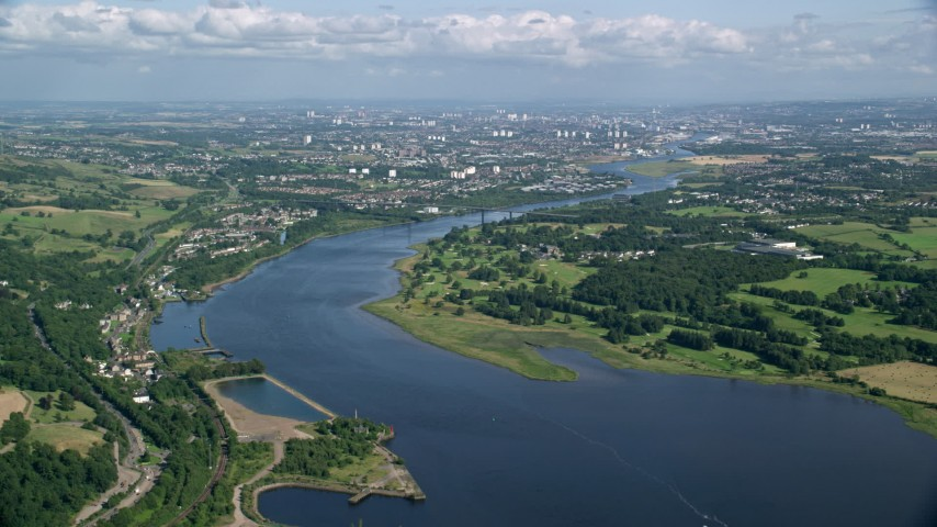 6K stock footage aerial video approach Erskine Bridge spanning River Clyde, Glasgow, Scotland Aerial Stock Footage   AX110_142
