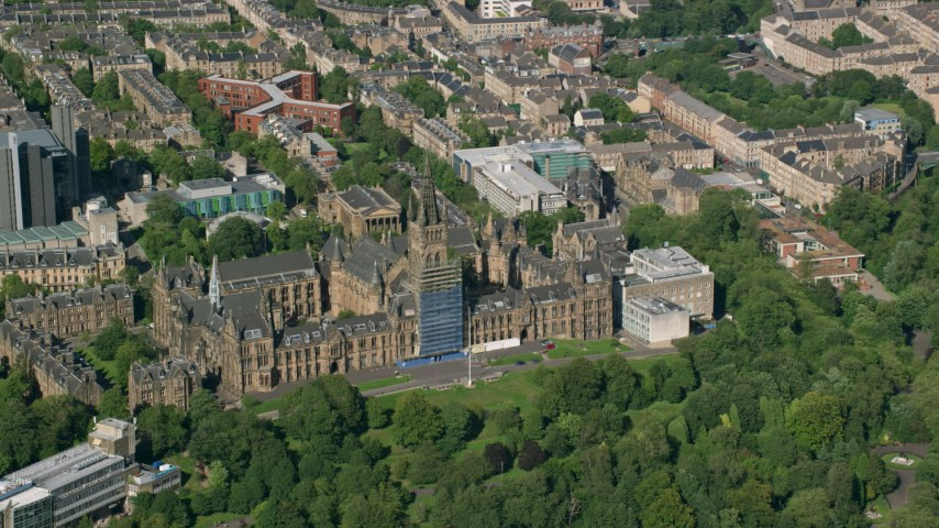 6K stock footage aerial video of the University of Glasgow, Scotland Aerial Stock Footage | AX110_156