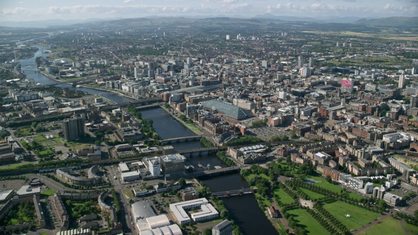 Glasgow, UK Aerial Stock Footage