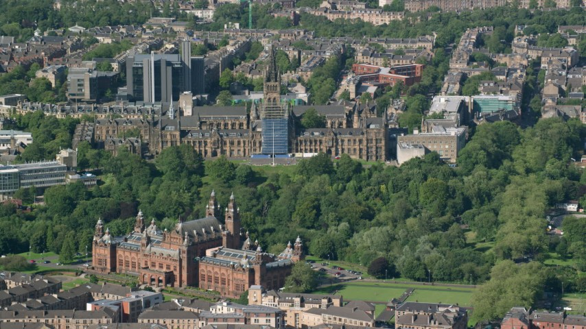 6K stock footage aerial video of University of Glasgow, Kelvingrove Art Gallery and Museum, Scotland Aerial Stock Footage AX110_174 | Axiom Images