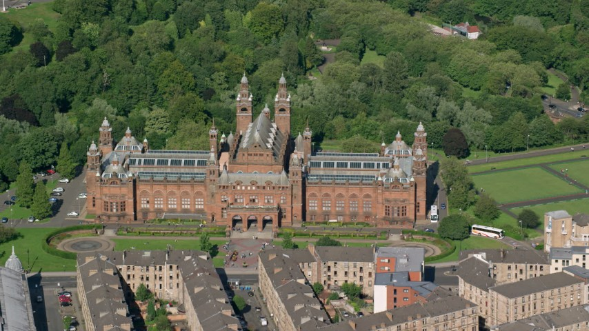 6K stock footage aerial video of Kelvingrove Art Gallery and Museum, Glasgow, Scotland Aerial Stock Footage | AX110_176