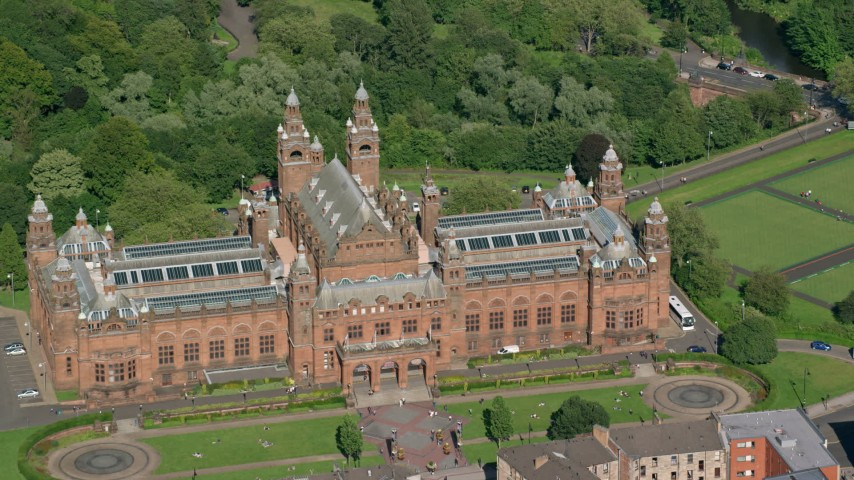 6K stock footage aerial video of Kelvingrove Art Gallery and Museum, Glasgow, Scotland Aerial Stock Footage | AX110_177