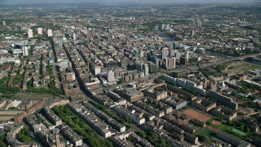 6K stock footage aerial video of a wide view of the city of Glasgow, Scotland Aerial Stock Footage | AX110_179
