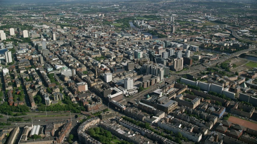 6K stock footage aerial video of a wide view of the city of Glasgow, Scotland Aerial Stock Footage | AX110_180