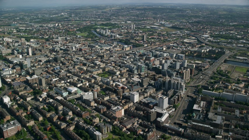 6K stock footage aerial video of a wide city view of Glasgow, Scotland Aerial Stock Footage | AX110_181
