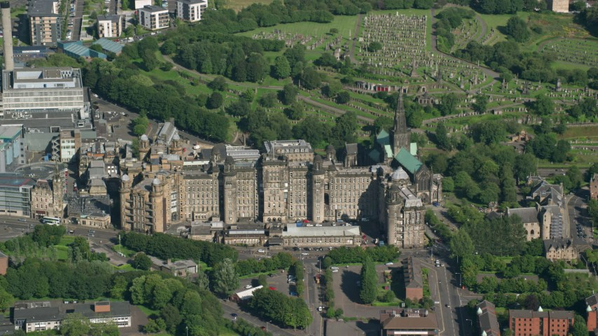 6K stock footage aerial video of Glasgow Royal Infirmary hospital in Scotland Aerial Stock Footage | AX110_183