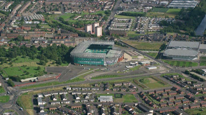 6K stock footage aerial video approach Celtic Park Stadium, Glasgow, Scotland Aerial Stock Footage | AX110_185