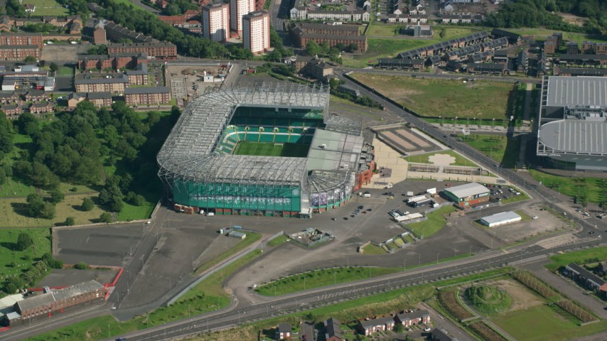 6K stock footage aerial video approach Celtic Park soccer stadium, Glasgow, Scotland Aerial Stock Footage | AX110_186