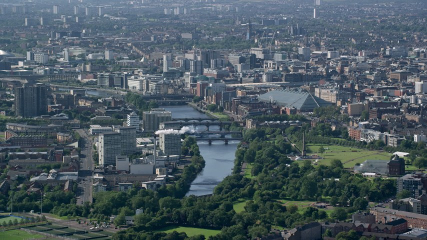 6K stock footage aerial video of city view with the River Clyde, Glasgow, Scotland Aerial Stock Footage | AX110_190