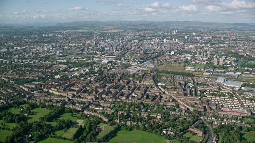6K stock footage aerial video of a wide view of the city of Glasgow, Scotland Aerial Stock Footage | AX110_195