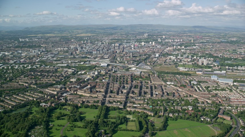 6K stock footage aerial video of a wide city view of Glasgow, Scotland Aerial Stock Footage | AX110_196