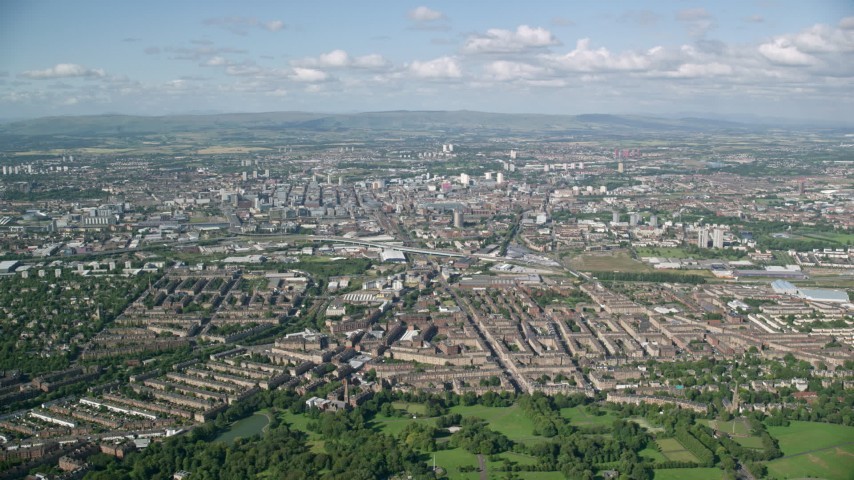6K stock footage aerial video of a wide view of Glasgow, Scotland Aerial Stock Footage | AX110_197
