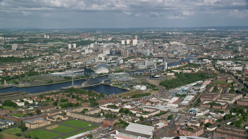 6K stock footage aerial video of the River Clyde and the city of Glasgow, Scotland Aerial Stock Footage | AX110_202